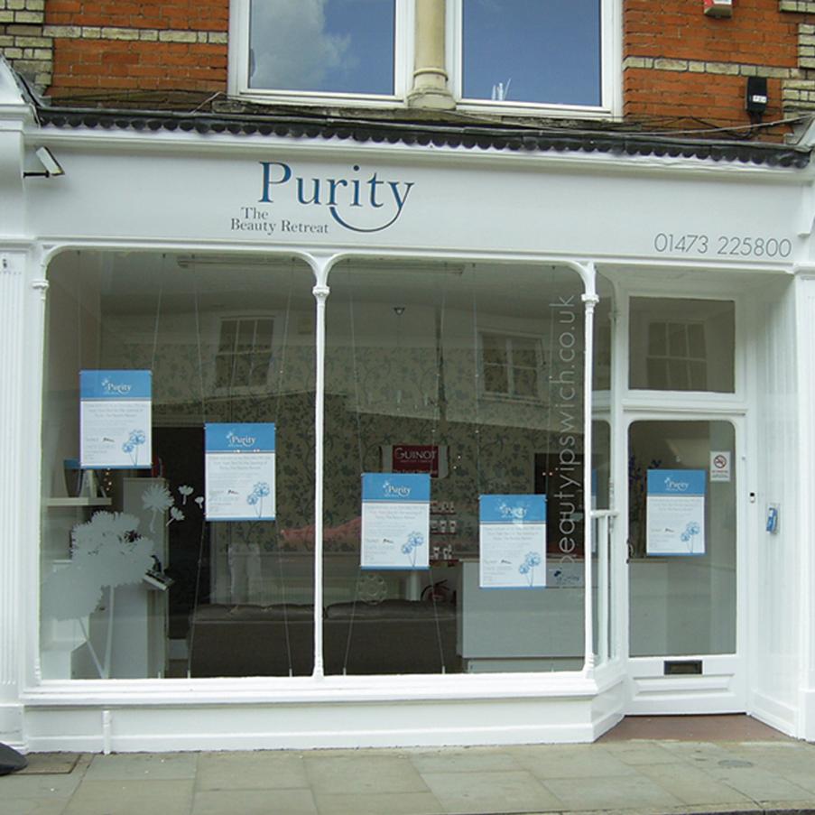 Shop front design ipswich purity keakreative graphic design for Beauty salon exterior design